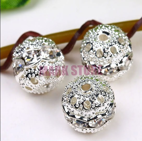 Free Shipping 300pcs/Lot 8MM White Crystal Spacer Metal Silver Plated Round Rhinestone Loose Beads For Jewelry Making(China (Mainland))