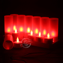 Free Shipping Rechargeable Flameless LED Candle Set Luminous Tea lamp Multi-Color LED Flickering Lights Plastic Electric Candles(China (Mainland))