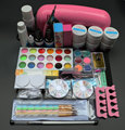 9W UV dryer lamp 18 color Acrylic Powder and 6 colors glitter powder Nail Art Kit