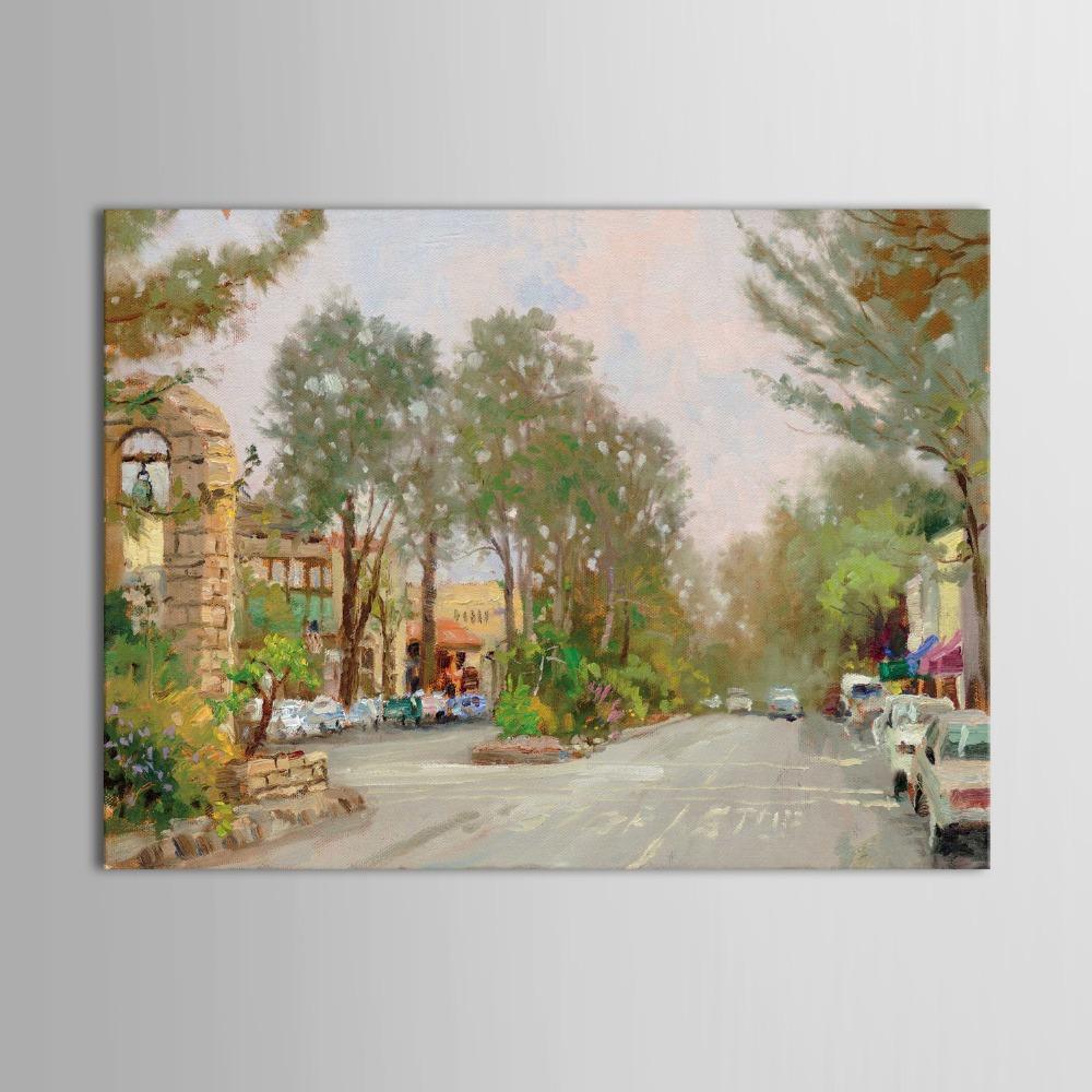 New Printed Oil Painting School Street Green Trees Street Landscape Modern Design(China (Mainland))