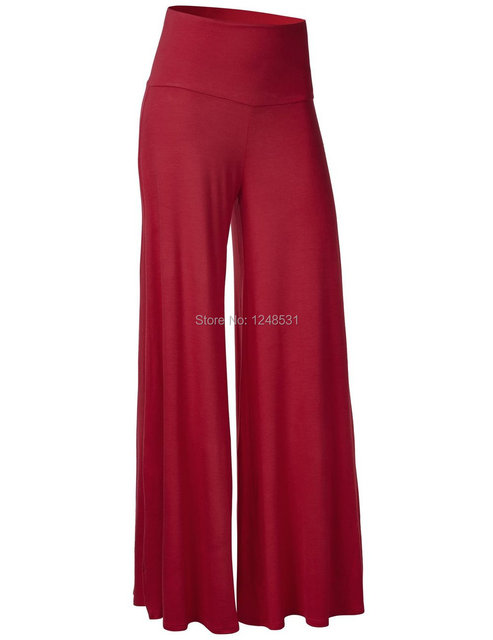 Женщины высокой талией широкие брюки ноги модальные шик палаццо отдыха брюки широкий ...