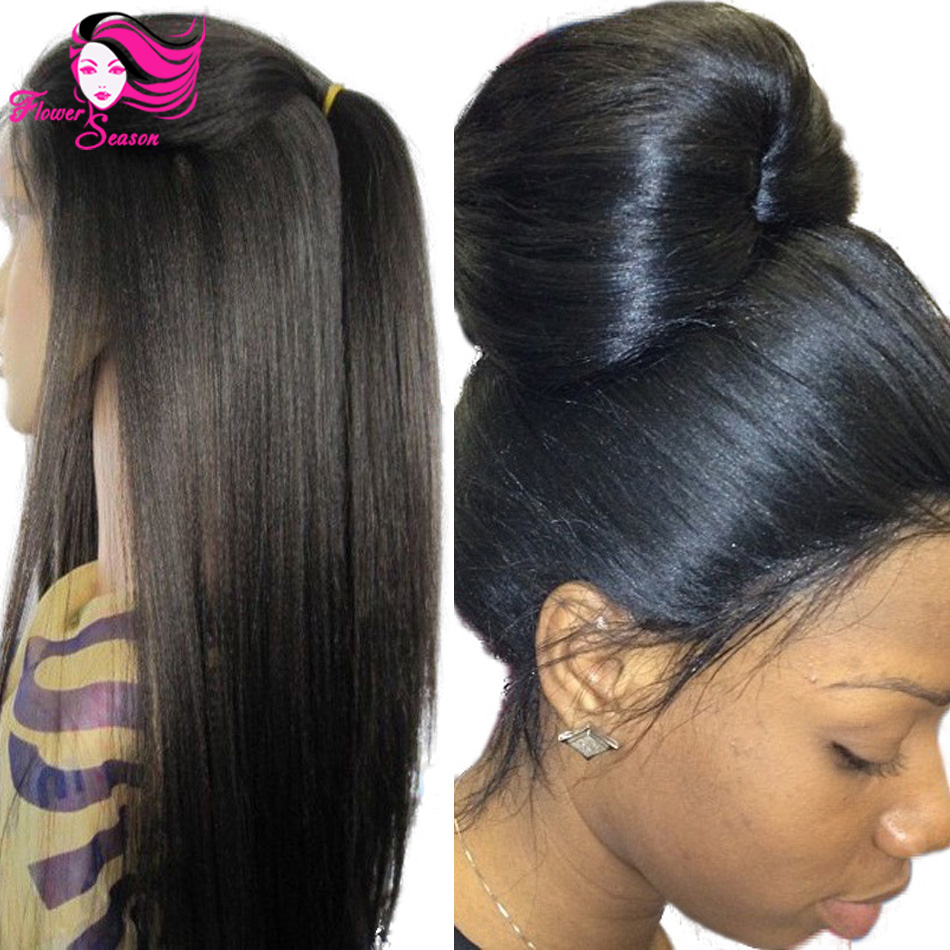 4x4 glueless silk top full lace wigs light yaki brazilian