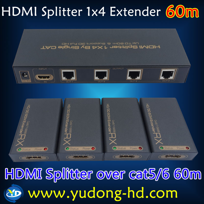 New 1X4 HDMI Splitter Extender 60M by Cat 6/7 HDMI TX and RX Over Ethernet RJ45 Cables Support 3D(China (Mainland))
