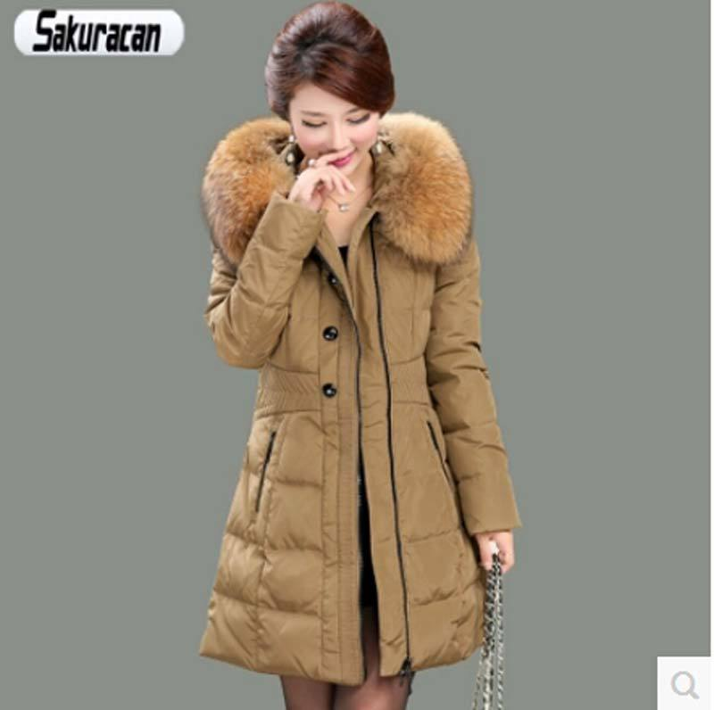 Фотография High quality new 2016 new winter fur collar hooded down jacket women Slim Thicken long Cotton coat women duck down jacket AE451