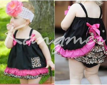 2014 newest multicolor bulk  kids clothing printed wholesale swing back top dress sets<br>