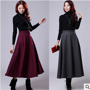 Europe America women winter long skirt large new thick warm woolen Slim Skirt plus size casual clothing DM1587