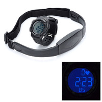 Free Shipping Digital Heart Rate Watch Elastic Chest Belt Frequency  AM5.3KHz Time Black Unisex Daily Alarm Sport Outdoor