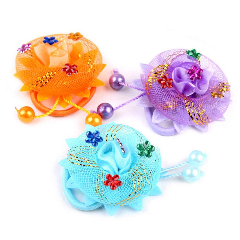 HOT Selling Flowers Hair Holder Gum Rope Baby Girls Kids Cute Hair Tie Accessories Elastic Scrunchie Styling Head Wear(China (Mainland))