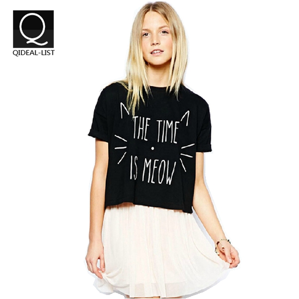 """Qideal-L 2015 New Arrival Cute Cat """"The Time is Meow"""" Tropical Letter Print T Shirt Women Crop Tops Summer Causal Short Shirts(China (Mainland))"""