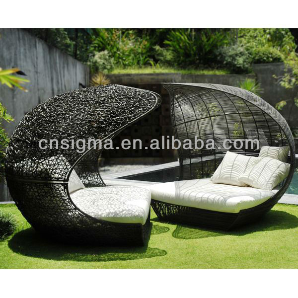 2014 Design Furniture PE Rattan Synthetic Wicker daybed Outdoor Sun Lounge(China (Mainland))