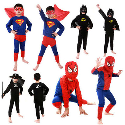 Red Spiderman Costume Black Batman Superman Halloween Costumes For Kids Superhero capes anime Cosplay Carnival Costumes(China (Mainland))