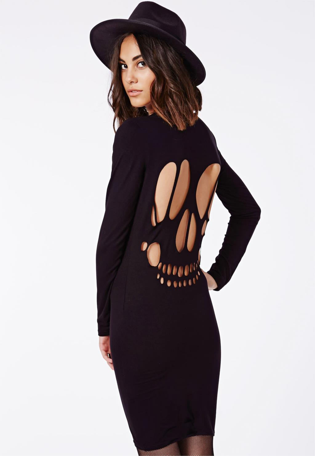 Women Dress Dresses With Long Sleeves Autumn Plus Size Hollow Out Pencil Bodycon Dress With Skull Rock Club dress(China (Mainland))