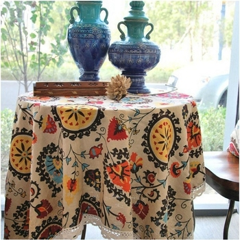 Free Shipping Sale 140x140cm Elegant Cotton and Linen Tablecloth Lace Table Linen Cloth Cover