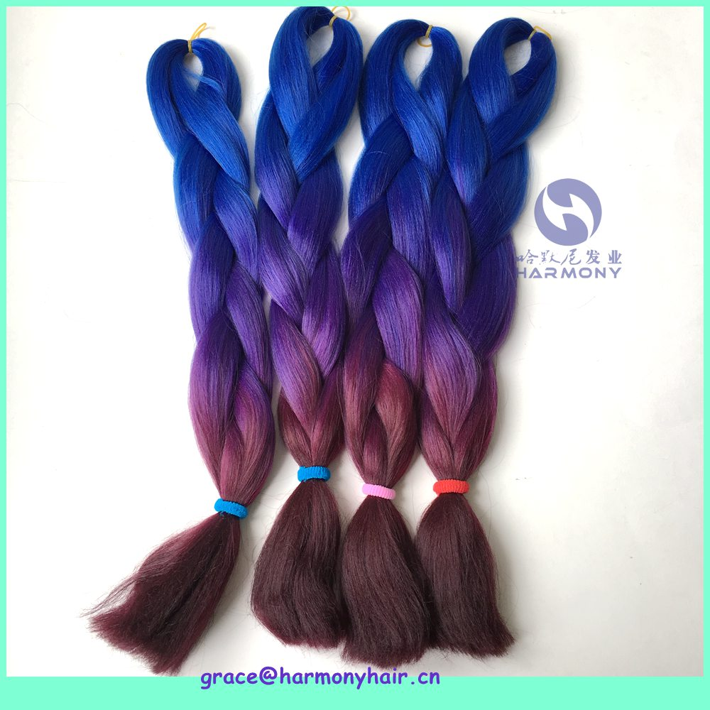 HARMONY 1pack/lot 24 100g ombre braiding hair extensions synthetic jumbo braids blue+purple+wine color 3 tone box braiding hair<br><br>Aliexpress