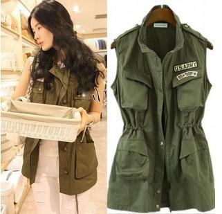 2014 New Autumn Vest women Army Green sleeveless pockets jackets casual epaulet zipper U.S.ARMY Logo Safari Jacket Free Shipping(China (Mainland))