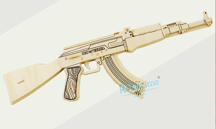 DIY 3D three-dimensional puzzle wooden military model children jigsaw gun AK47 christmas Gifts weapons adults