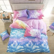 2016 New Comforter Bedding Set Reactive Printed Sky Clouds Duvet Cover Sets Cotton Flat Sheets Queen/Full/Twin Size Wholesale(China (Mainland))