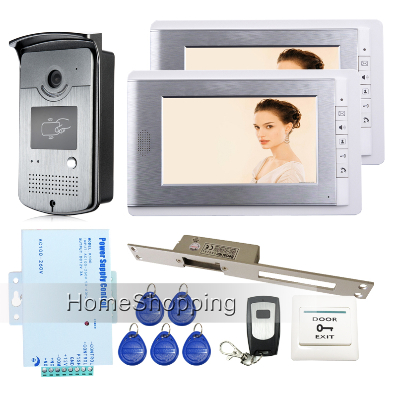 "Free Shipping New Home 7"" Color Video Intercom Door Phone System 2 Monitor + 1 RFID Access Camera + 250mm Electric Strike Lock(China (Mainland))"