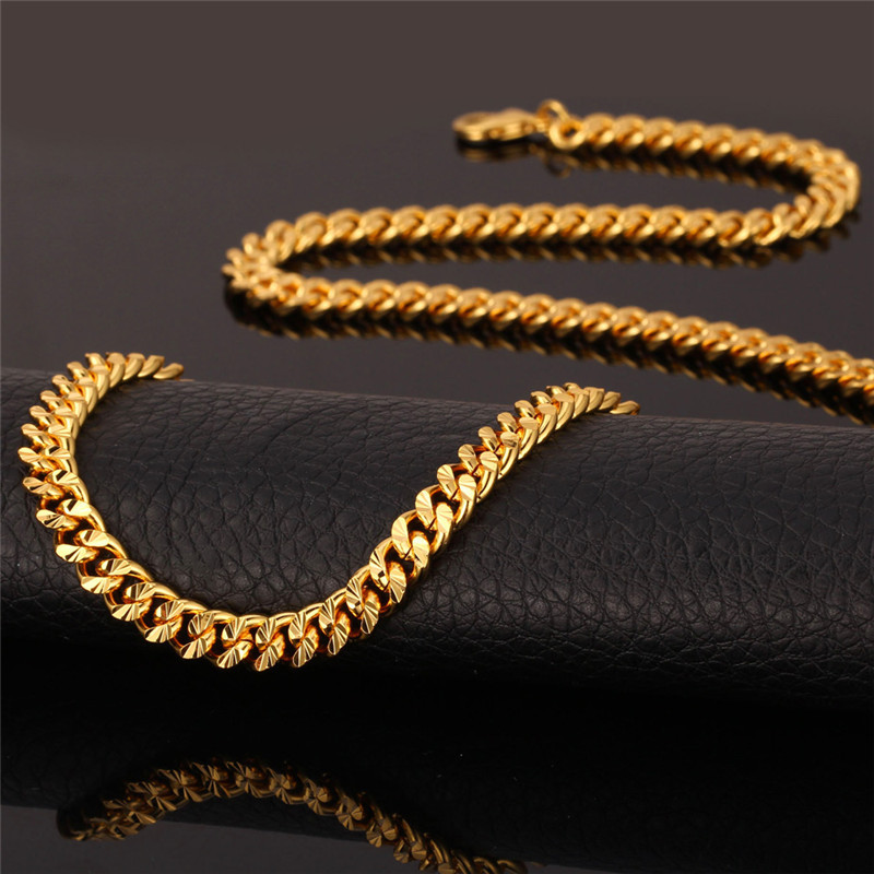 Chain Men Necklace Vintage Gold Color 6MM 55CM 22'' Fashion Mens Necklace Cuban Link Chain Jewelry N838 )