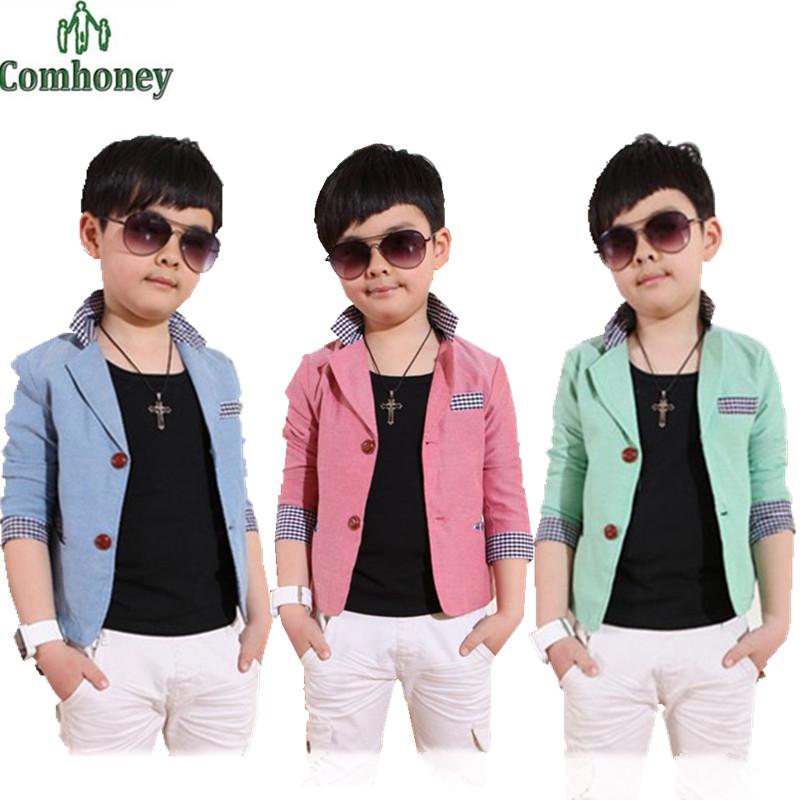 Boys Blazer Plaid Spring Boys Wedding Suit High Quality Jackets For Boys Korean Style Long Sleeve Blazers Baby Outerwear(China (Mainland))