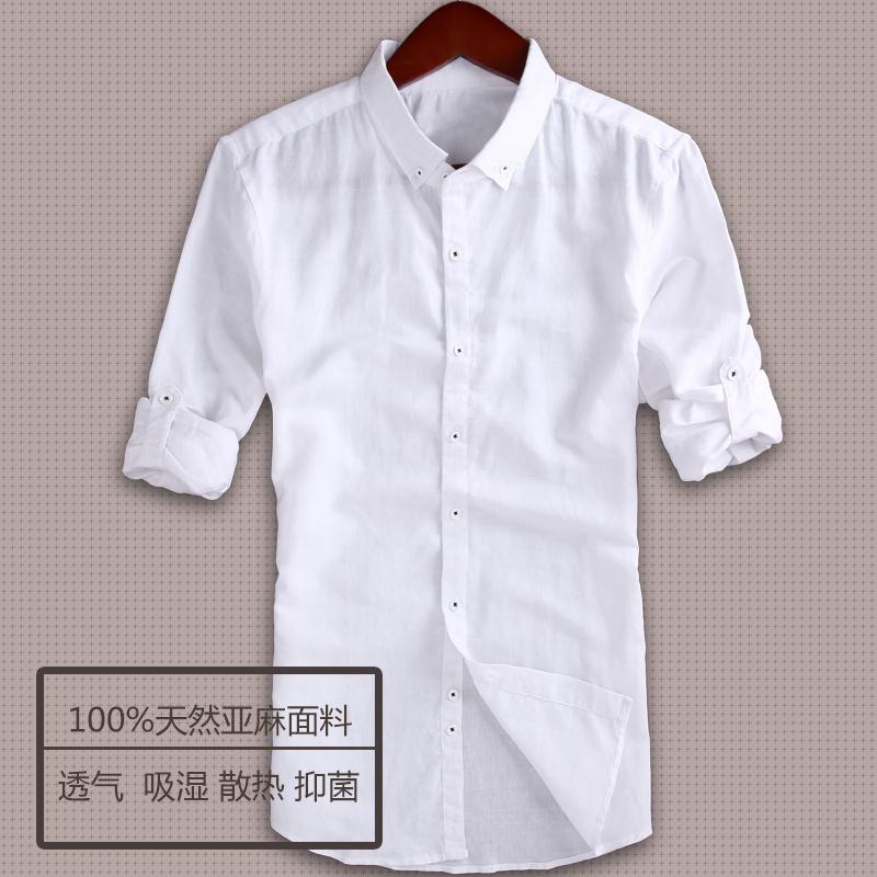 Men linen shirt casual breathable white linen shirts men for Mens linen dress shirt