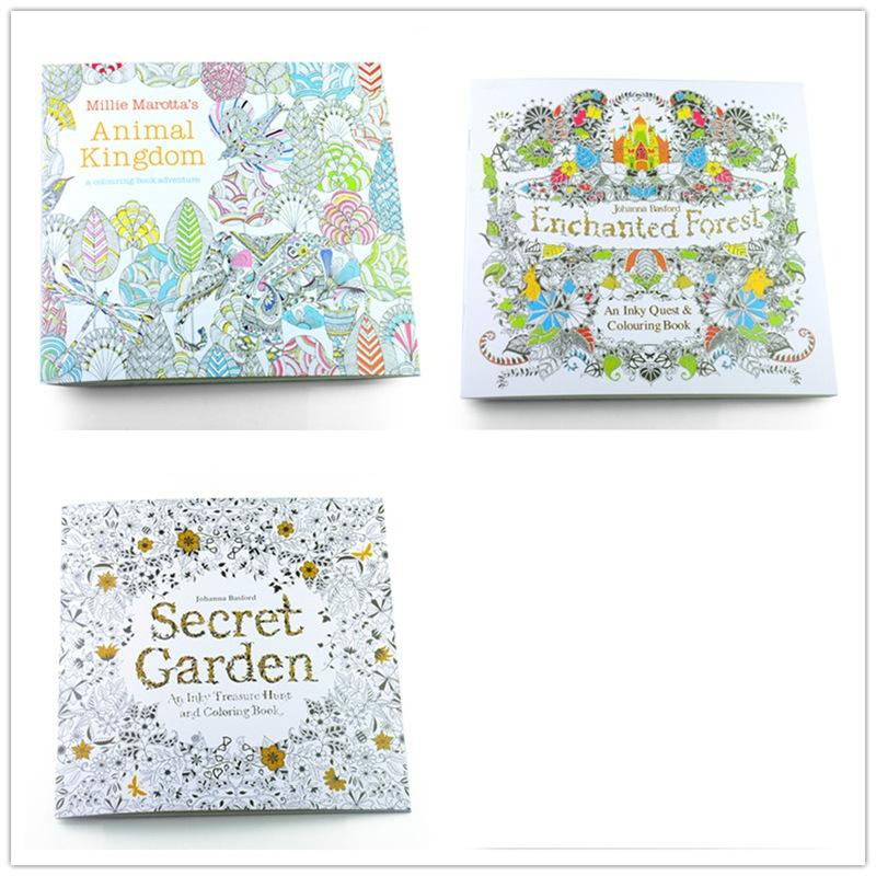 100PCS/LOT English Edition Secret Garden+Fantasy dream +Animal Kingdom Coloring Book Adults Colouring Book Each Book 24 Pages<br><br>Aliexpress