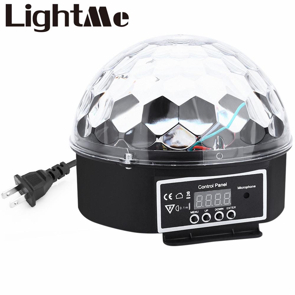 9 Colors 27W Premium Sound Control Stage Light 90-240V RGB LED Magic Crystal Ball Lamp Disco Light Laser Wedding Party Lamp(China (Mainland))