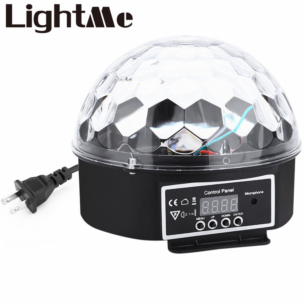9 Colors 27W Premium Sound Control Stage Light 90-240V RGB LED Magic Crystal Ball Lamp Disco Light Laser Wedding Party Lamp(China (Mainland))