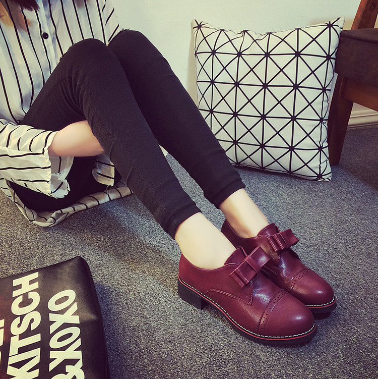 retro british cut-outs bowtie oxfords new arrival PU leather 4cm middle heel red black comfort platform women shoes casual flats<br><br>Aliexpress