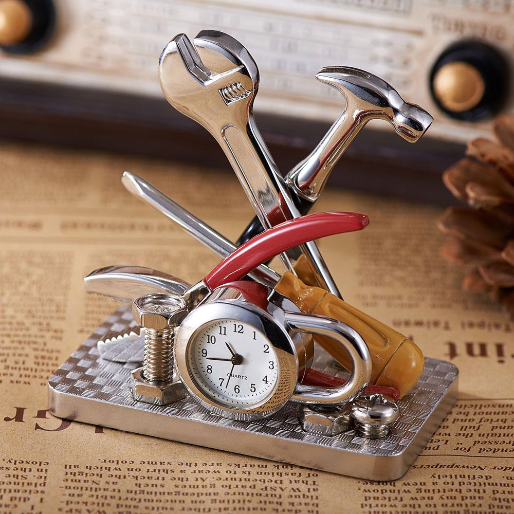 Creative Birthday Gift Traditional Chinese Style Tools Shape Desk Table Clocks Top Quality Quartz Metal Table Clocks Desk(China (Mainland))