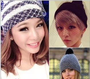 fashion supermodel veil street snap net yarn knitted cap Autumn winter head wool hat ladies women Retro mesh hats - Sky Trade Co., Ltd. store