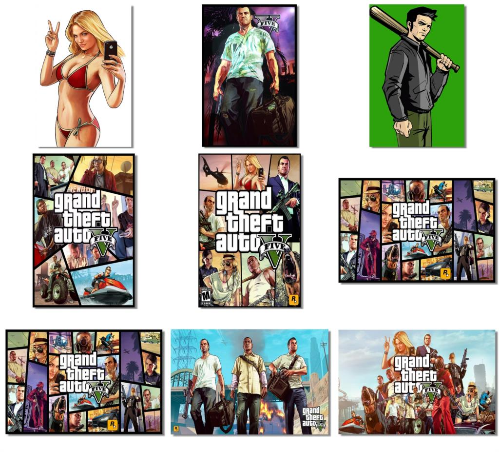 9Pcs x Grand Theft Auto GTA V Cash Carry 5 4 3 Poster Wall Fabric Prints Room Photos 18x12 30x20 36x24 inch (537-545)(China (Mainland))