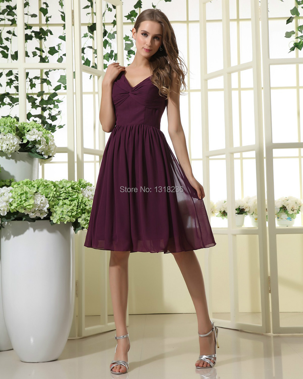 Plum Chiffon Knee Length Bridesmaid Dresses 2015  Dress images