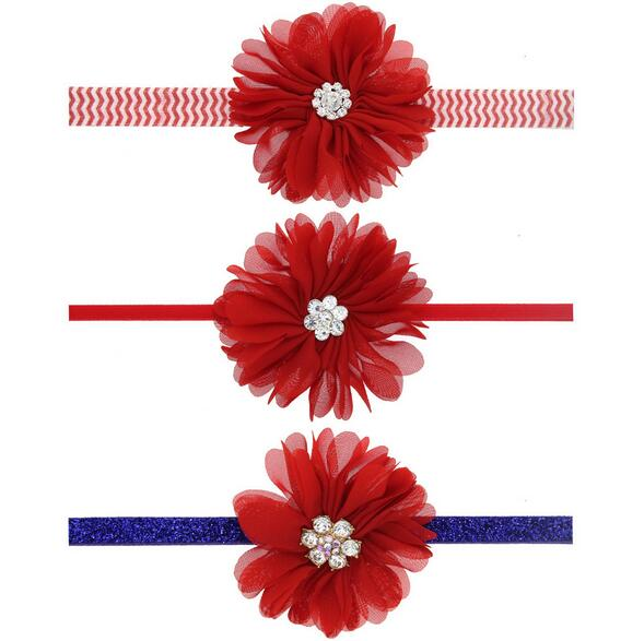 2pcs/lot Fashion children baby red flower Hairband crystal Elastic Headband Hairband Hair accessories QN0079(China (Mainland))