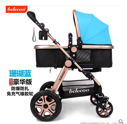 shock absorbers baby trolley baby car Folding umbrellababy stroller two-way Wheeled Child Comveyances aluminum alloybuggiest(China (Mainland))