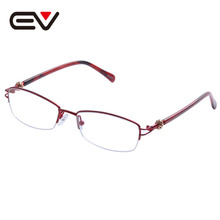 2016 New Fashion Women Metal Half Rim Glasses Frames Clear Lens Optical Eyeglasses titanio gafas sin montura marco EV1354 - EV Frame&Sunglasses Manufacturer store