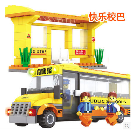 QIAOLETONG TS20115 School Bus car model 293pcs Building Block Sets Educational DIY Bricks Toys(China (Mainland))