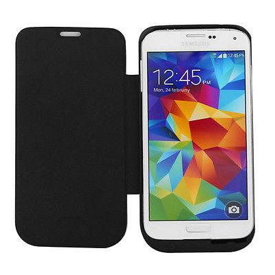 Ultrathin Flip Power Case 3500mAh Backup Battery Charger Cover Bank Samsung Galaxy S5 Black White - Smarcent (HK store Inc.)
