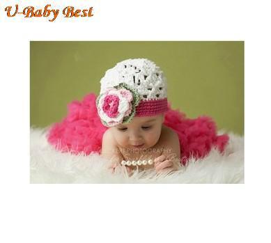 5sets Handmade Crochet Cotton Baby Beanies Hats Caps&Fluffy Tutu Skirt Costume Newborn Girl Photography Props For 0-6 Months