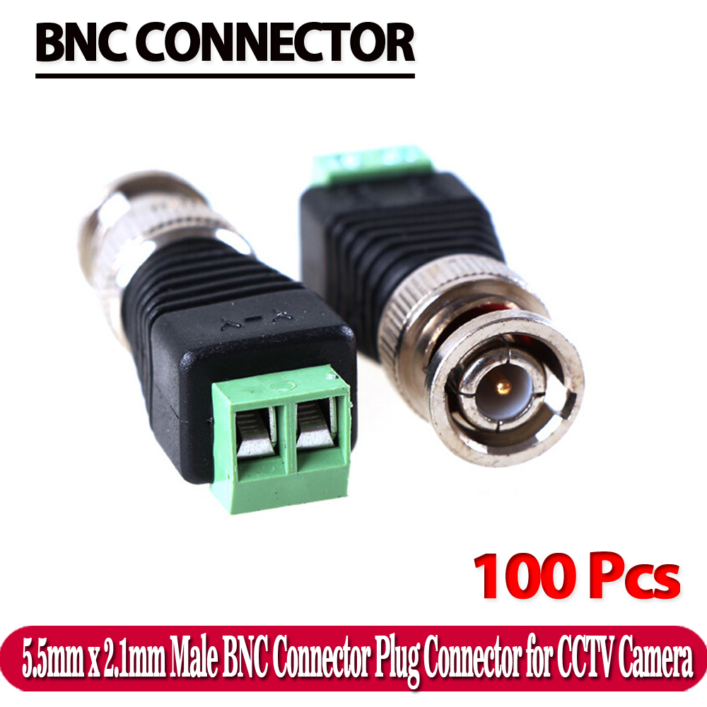 100Pcs Mini Coax CAT5 Male BNC Connector To Camera CCTV BNC Video Balun Connector Adapter(China (Mainland))