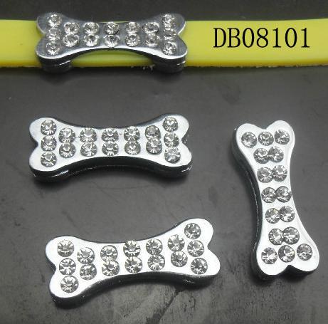 8mm Crystal Stud Shiny Chrome Plated Zinc Alloy Dog Skeleton Beads,fits 8mm DIY Dog Collar,Wholesale 50pcs/lot