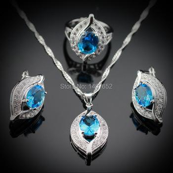 Глаз в форме 925 серебряных ювелирных изделий устанавливает для женщин натуральный ...