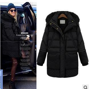 Fashion winter Warm lambs wool Shearling Fur Lined 90% White Duck Long Detachable Hooded jacket coat Parka Outerwear