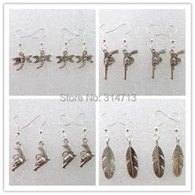 (Min.order 10$ mix)8Pair Carved Mixed Tibet Silver Butterfly Pistol Leaf Earrings 18x17x3 25x12x3 16x15x4 29x9x2mm D1991(China (Mainland))