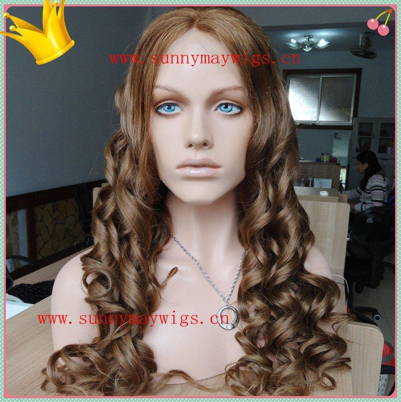 Fashion Sunnymay hair 100% human hair #6 beautiful curly Indian hair full lace wig(China (Mainland))