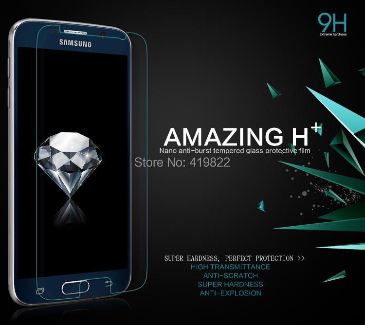 NILLKIN Amazing H+ Nanometer Anti-Explosion Tempered Glass Screen Protector For Samsung Galaxy S6 2.5D Arc round edge ,MOQ:1PCS(China (Mainland))