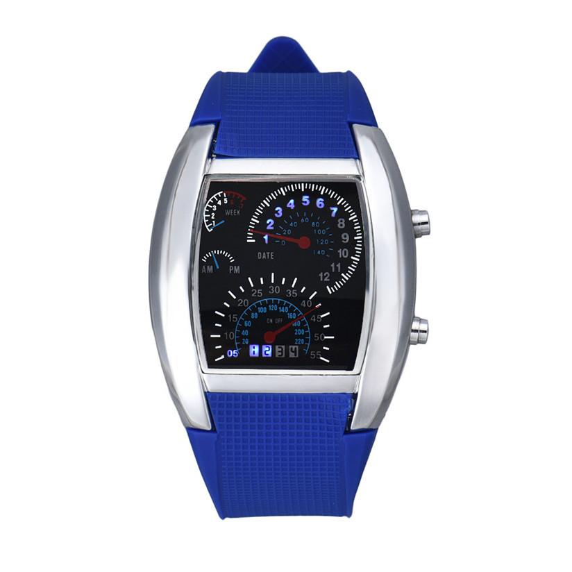 Hot Marketing Fashion Aviation Turbo Dial Flash LED Watch Gift Mens Lady Sports Car Meter Jun6(China (Mainland))