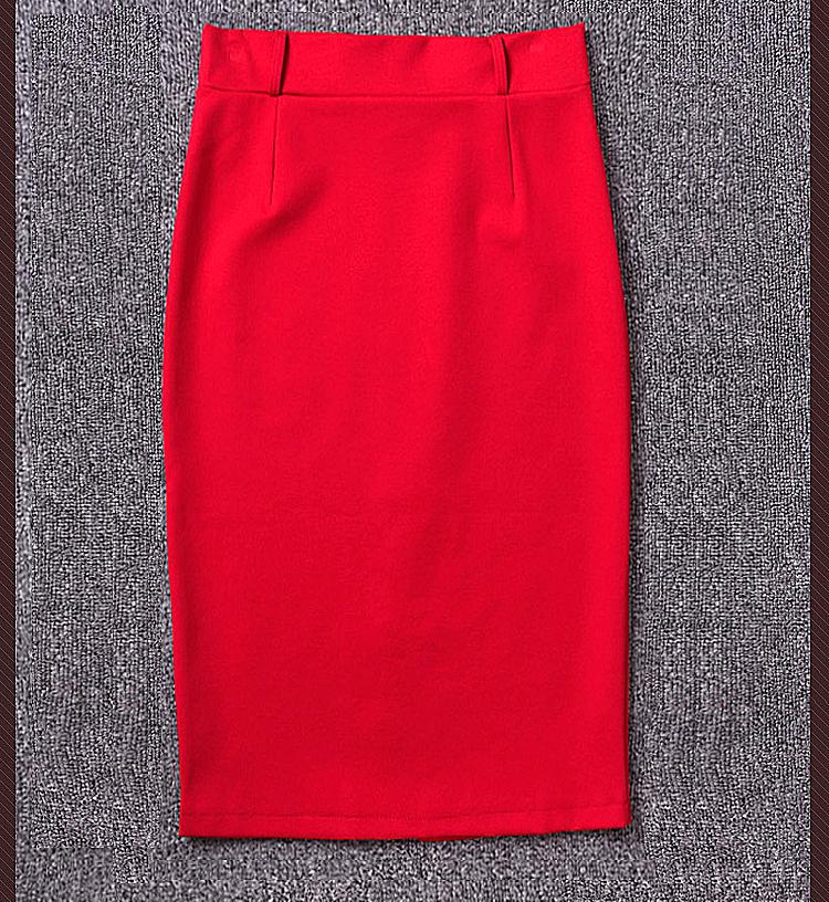 Лето пр стиль до колена юбки женщин завышенная талия юбка дамы черный красный пакет бедра длинная карандаш юбка S-5XL