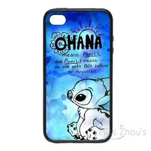 For iphone 4/4s 5/5s 5c SE 6/6s plus ipod touch 4/5/6 back skins cellphone cases cover Ohana Paint Pink/Blue Lilo Family Love