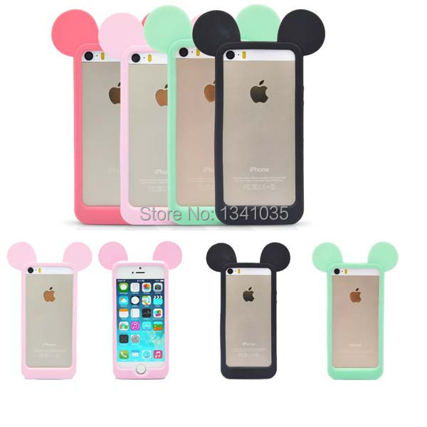 For iPhone 5 5s 5g Case Mouse ears model Silicon material Soft Back Case Cover For